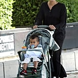 Angelina Jolie pushed baby Maddox Jolie-Pitt around LA in October 2003.