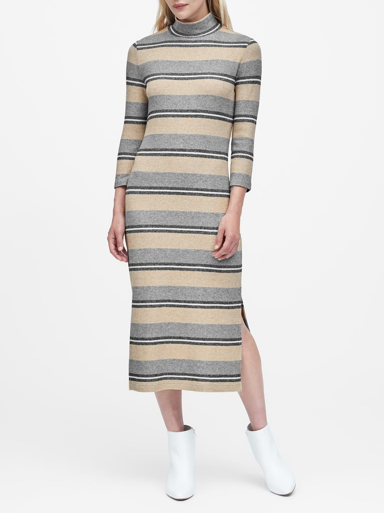Stripe Luxespun Turtleneck Dress