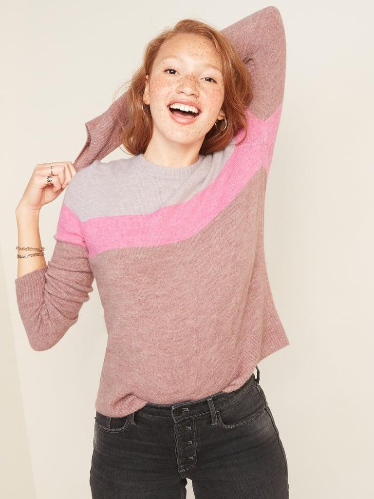 Color-Blocked Crew-Neck Sweater