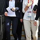 Kate Middleton stepped out to watch the equestrian events on day three in a blue Smythe blazer, much like this one, a Great Britain-themed Adidas polo, skinny jeans, and Stuart Weitzman cork wedges. It was a clean, preppy look that totally matched the vibe of the preppier equestrian event she was attending.