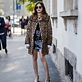 Style Your Leopard-Print Coat With: A Patent Skirt and Heels