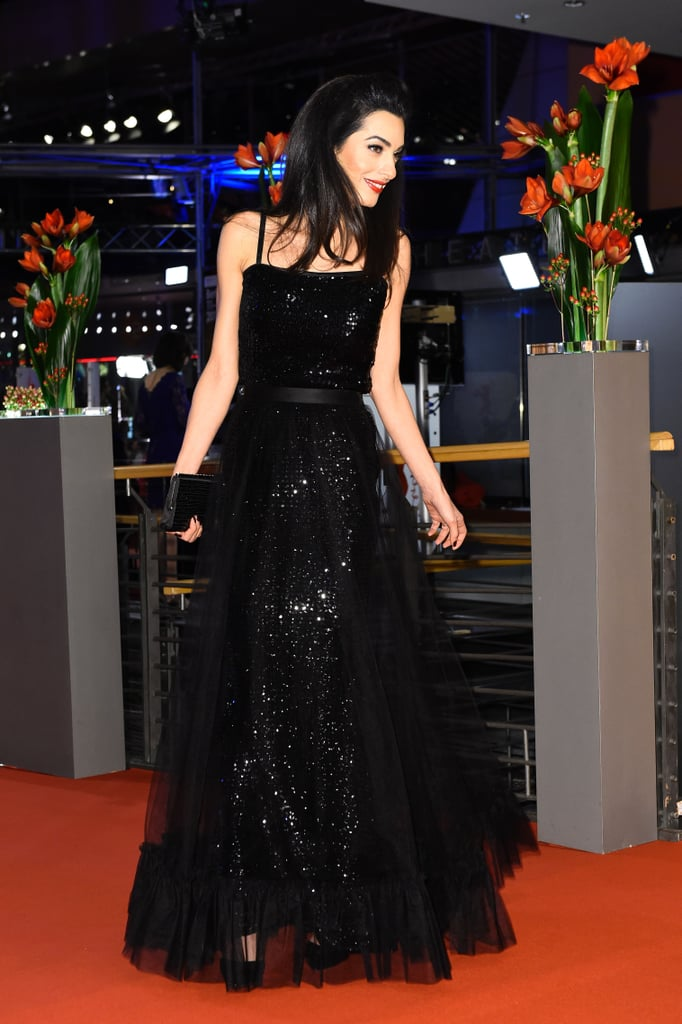 Wearing a black layered vintage Saint Laurent gown at the Berlin premiere of Hail, Caesar! in 2016.