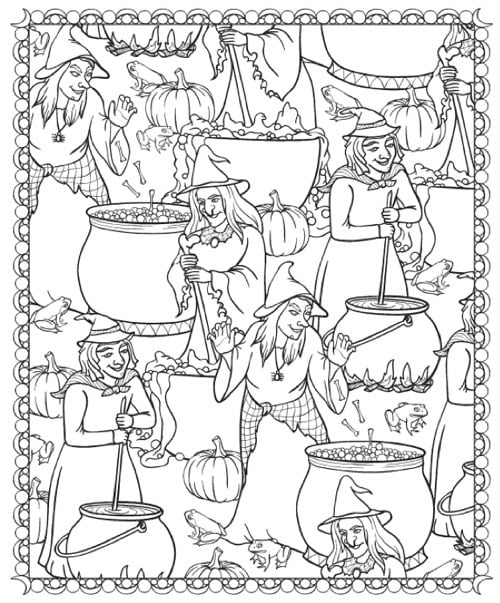 Get the coloring page: witches