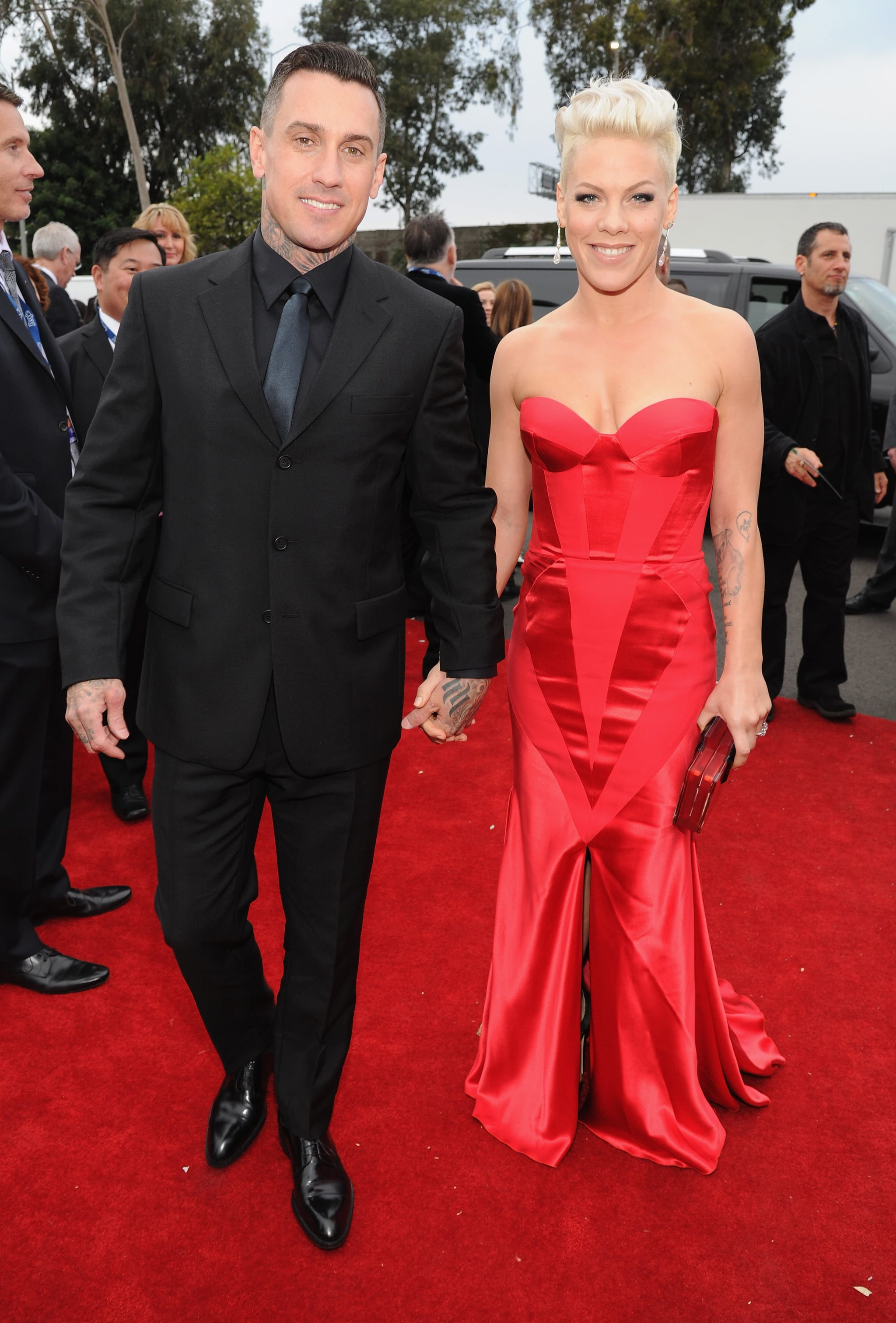 Carey Hart and Pink linked up on the Grammys red carpet.