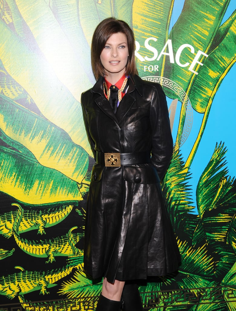Linda Evangelista at the Versace for H&M fashion show.