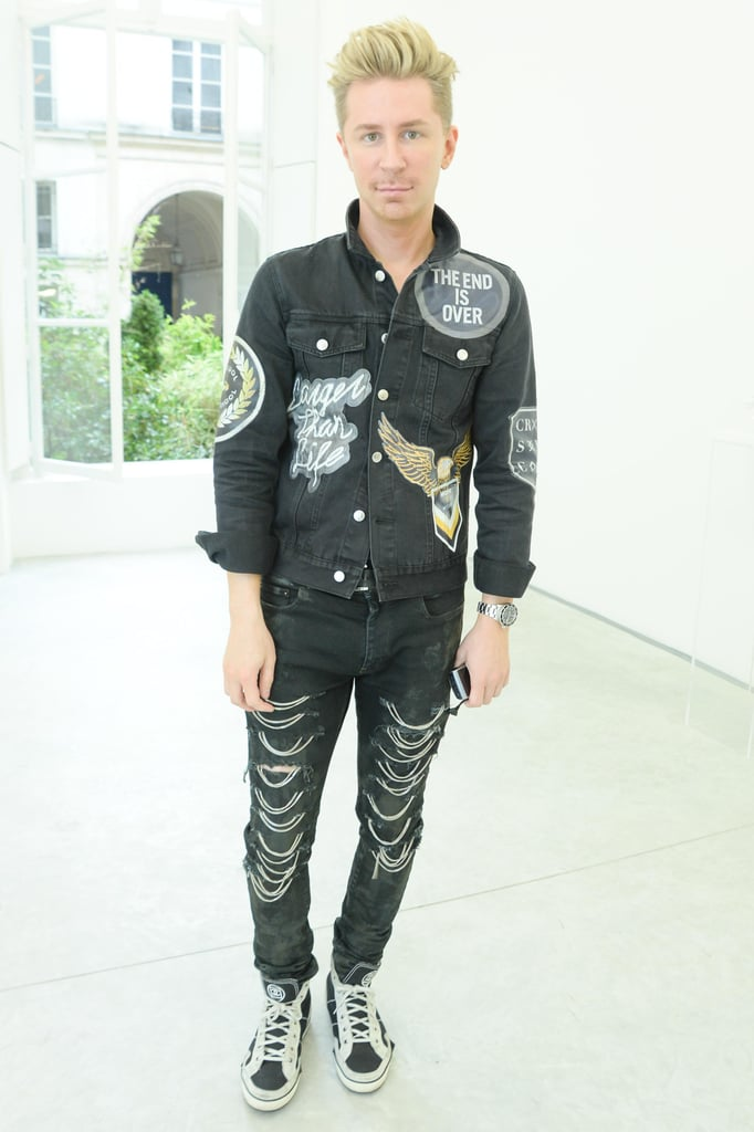 Kyle Anderson made a statement in embellished separates at the Delfina Delettrez presentation.
