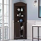 Corner Linen Cabinet With Shutter Doors