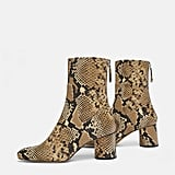 Zara Animal Print High-Heel Ankle Boots