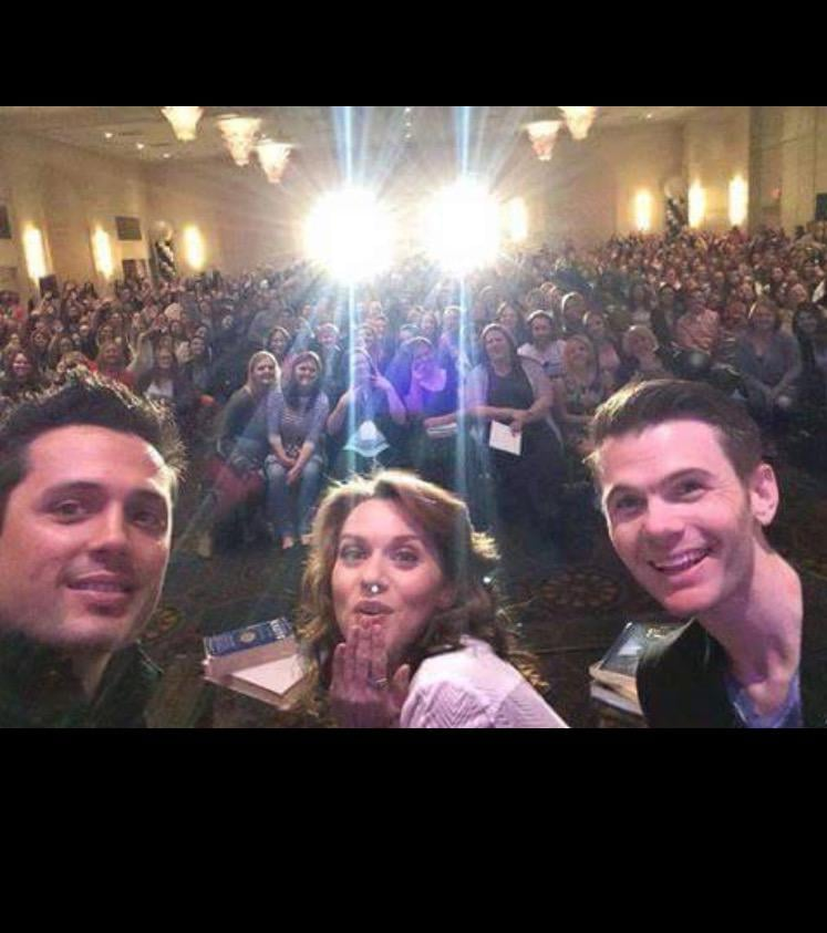 Stephen Colletti, Hilarie Burton, and Joshua Reid-Davis posed in front of the crowd.