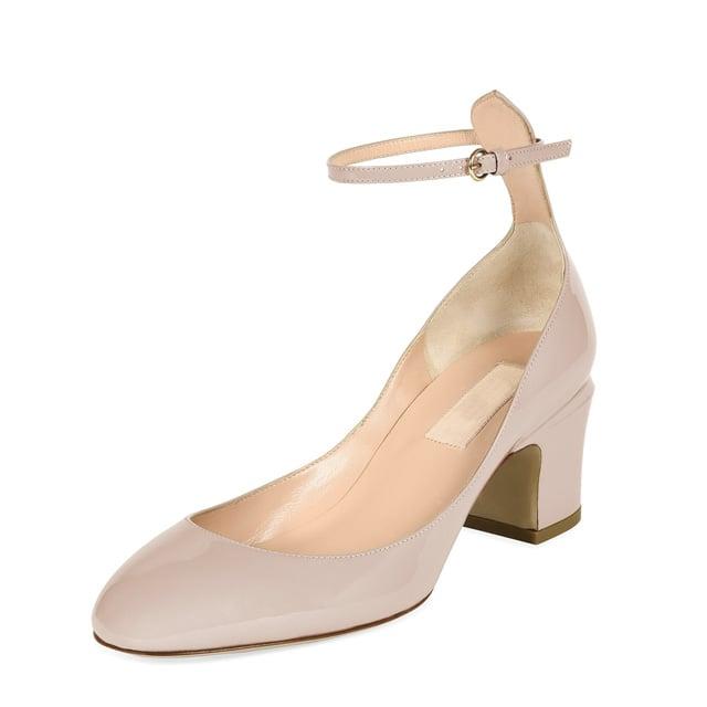 Valentino 'Tango' Patent Block-Heel Ankle-Wrap Pump ($845)