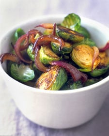 Brussels Sprouts With Vinegar-Glazed Red Onions Recipe