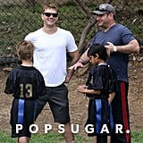 Ryan Phillippe helped coach his son's flag football team.