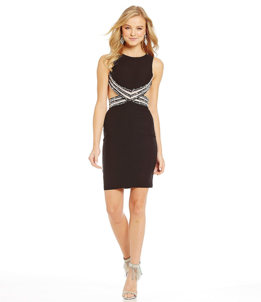Blondie Nites Illusion Beaded Waist Sheath Dress ($159)