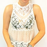 Carina played with texture in this Summer-friendly, sheer lace top.