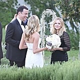 Kristen Bell held on to Molly McNearney's bouquet.