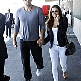 Eva Longoria and new boyfriend, Ernesto Arguello, made their first public appearance as a couple to catch a flight out of Paris.