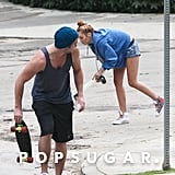 Miley Cyrus and Liam Hemsworth went skateboarding around LA.