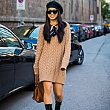 Play Up the Prep When You Twist One Over Your Cable-Knit Sweater Dress