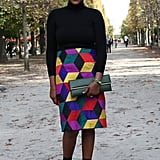 Between the graphic print and bold color, this look most certainly draws the eye.