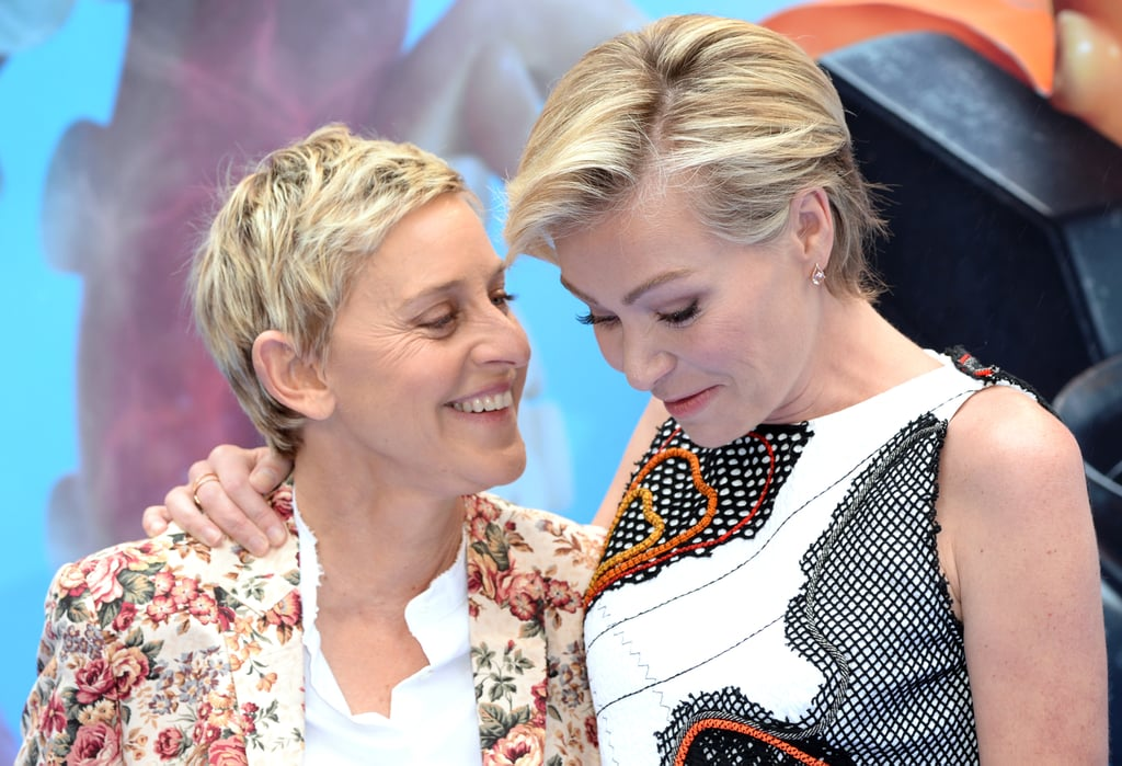 Ellen sweetly stared at Portia while on the Finding Dory red carpet in London in July 2016.