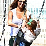 Jessica Alba played with Haven Warren on the swings.
