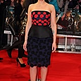 Scarlett Johansson wore a peplum Prada dress and red heels on the the red carpet for the premiere of The Avengers in London.