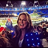 Charlotte Dawson waved the Australian flag at the opening ceremony. Source: Instagram user mscharlotted