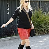 Reese Witherspoon Wears a Spring Skirt to Visit a Friend