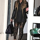 Feeling the printed trend, but not necessarily the bold colors? Try a fierce exotic printed pant à la Beyoncé's Alexander McQueen leggings. For an edgier evening out, she paired the look with the designer's buckled booties and aviator-inspired jacket.