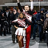 Tamron Hall and Willie Geist as the Cheerleaders of Saturday Night Live