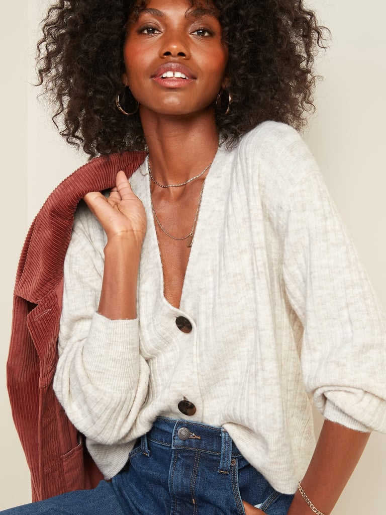 Old Navy Slouchy Rib-Knit Button-Front Cardigan Sweater