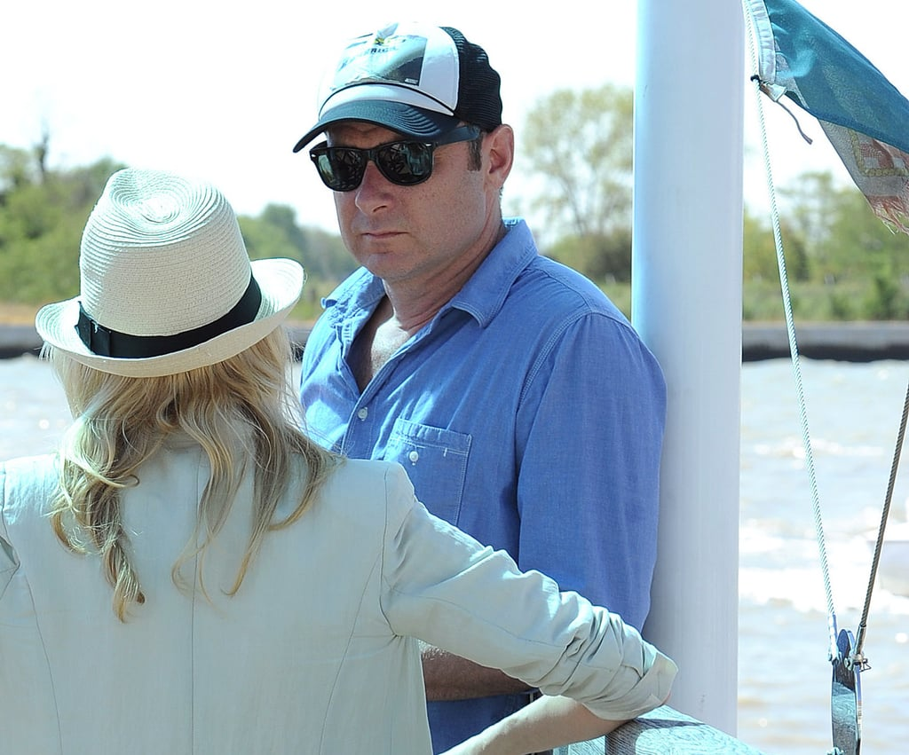 Naomi Watts and Liev Schreiber chatted while they waited for a boat to pick them up.