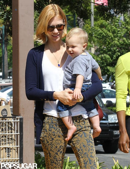 January Jones had a smile on her face for a trip to an LA Whole Foods with Xander.
