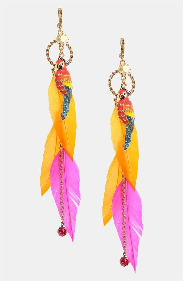 Betsey Johnson Rio Parrot and Feather Drop Earrings ($50)
