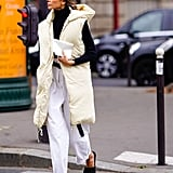 Roll up the bottoms, and work with flats, piling a puffy vest on top.