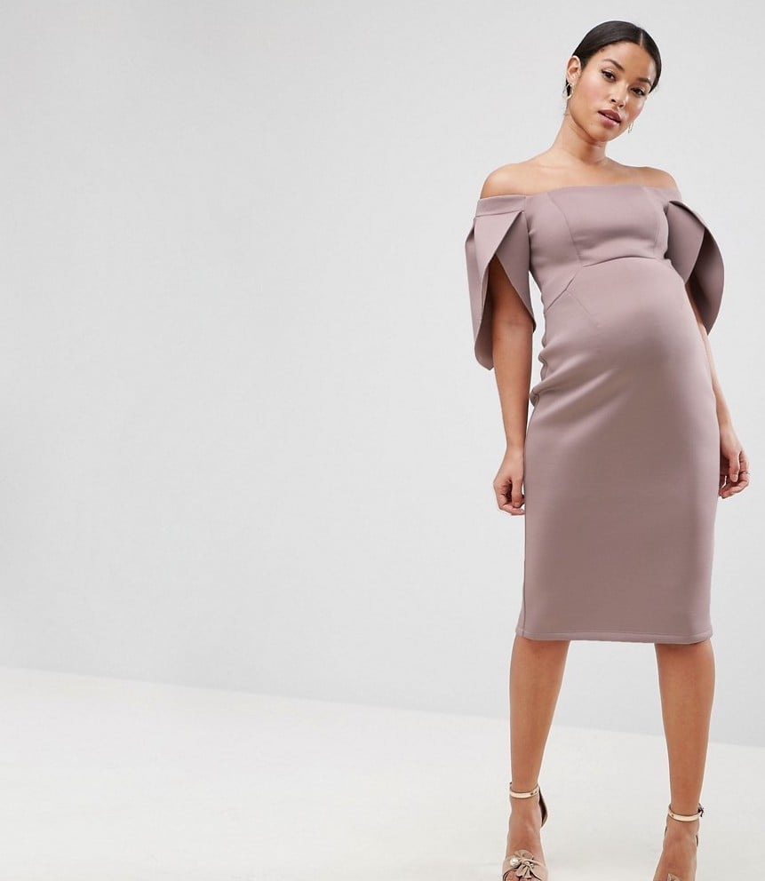 Asos maternity petal sleeve bardot midi bodycon dress maternity asos maternity petal sleeve bardot midi bodycon dress ombrellifo Images