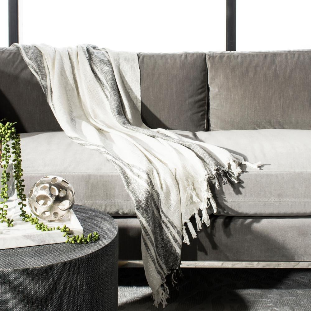 Safavieh Alita White/Grey Throw Blanket