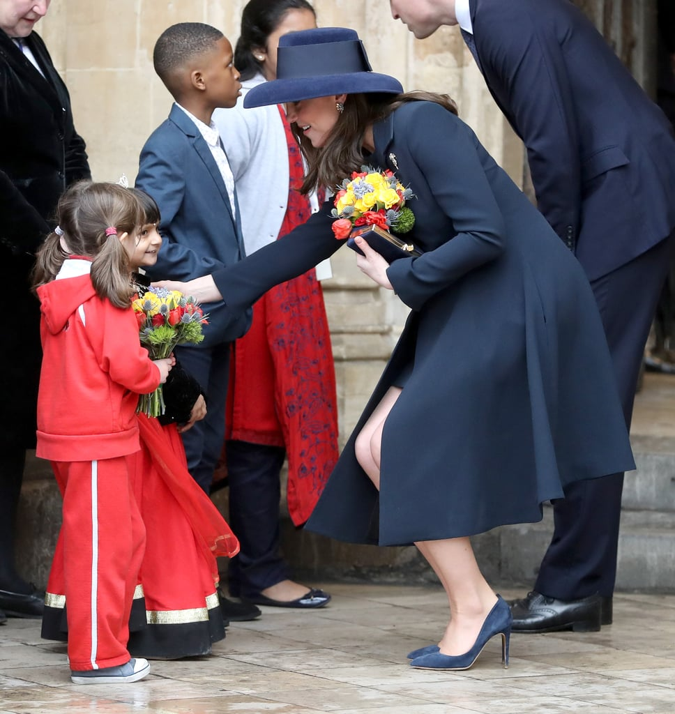 Kate greeted two young girls outside Westminster Abbey on Commonwealth Day in March 2018.