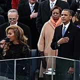 The president listened as Beyoncé performed during the inauguration.