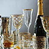 Gold Etched Wine Glass Set