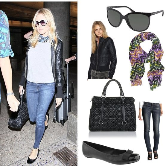 Copy Sienna Miller's Airport Style with Leather Jacket and Miu Miu Handbag