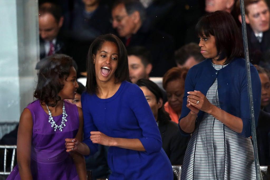 At the 2013 inaugural parade Sasha, Michelle, and Malia especially had a good time.