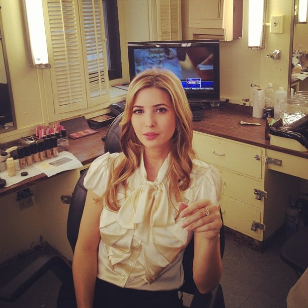 Ivanka Trump lounged in the green room before making an appearance on Good Day NY. Source: Twitter user IvankaTrump