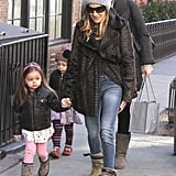Sarah Jessica Parker held hands with Tabitha while they walked to school.