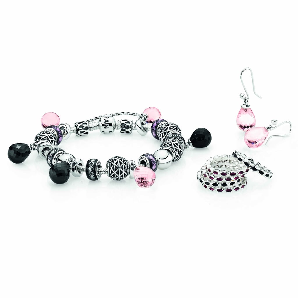 Sterling silver rings with black and purple enamel, $49 each, pink Murano glass faceted earring pendants, $69, and sterling silver hooks with cubic zirconia $25, sterling silver bracelet, $89, with sterling silver charms from $30 each and Murano glass pendants, $55 each.