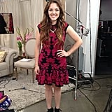 FabSugar host and producer Allison McNamara wore a red and black Alexander McQueen dress and T + J Designs necklace for our live show.