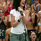 Carson Daly's former love Jennifer Love Hewitt performed at the MTV Beach House in Seaside Heights, NJ, for TRL in 2002.