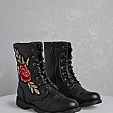 Forever 21 Floral Patch Combat Boots