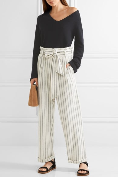 By Malene Brrger Ginas Striped Cotton-Terry Wide-Leg Pants, $275
