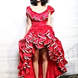 An asymmetrical ruffled hem — flamenco-inspired, albeit — gave Kimbra a festive edge.